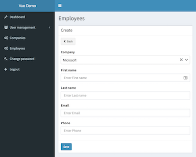 Vue js + Laravel Admin Panel Builder